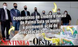 Cooperativas de crédito e rurais de Palma Sola se unem e promovem ação de arrecadação de alimentos