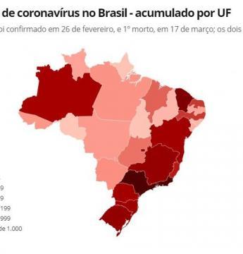 Casos de coronavírus no Brasil em 3 de abril