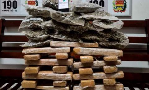 40 quilos de maconha e haxixe são apreendidos em Campo Erê